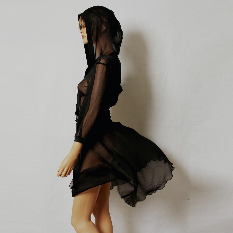 Black dress/ sheer silk hooded dress/ mini dress/day/little-black-dress/vitage/party - MIRIMIRIFASHION