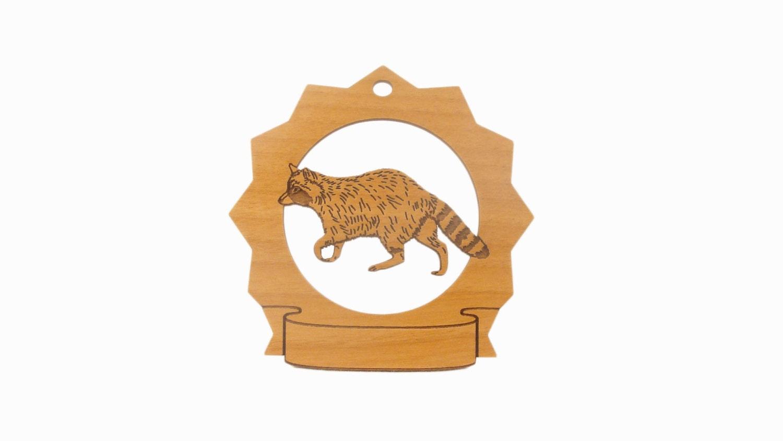 Raccoon Pesonalized Wood Ornament - gclasergraphics
