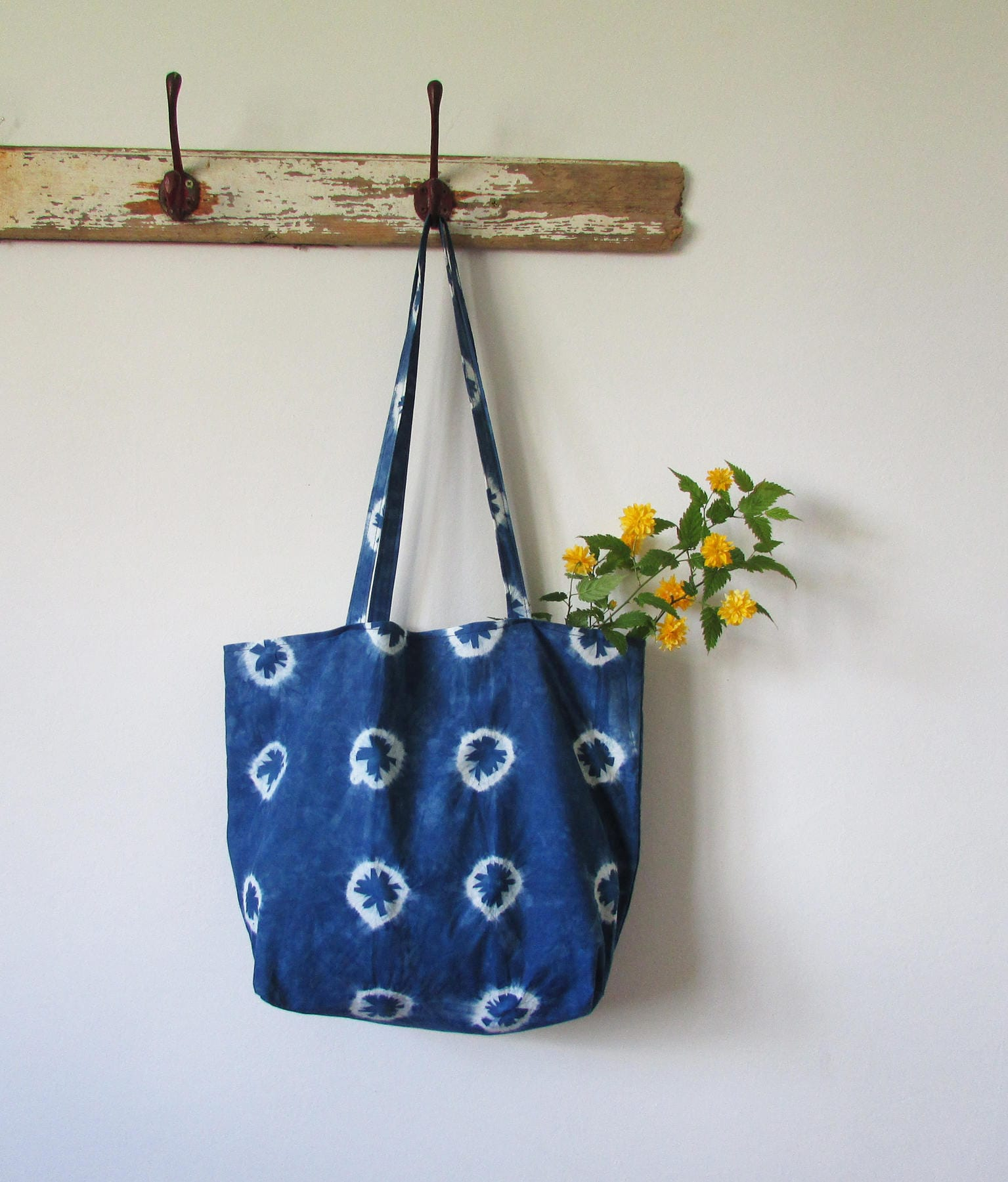 Indigo bag blue shibori bag Alternative Gift Bohemian trend Festival clothing Girlfriend gift Hippy bag Beach bag Fold away shopper INDI0198