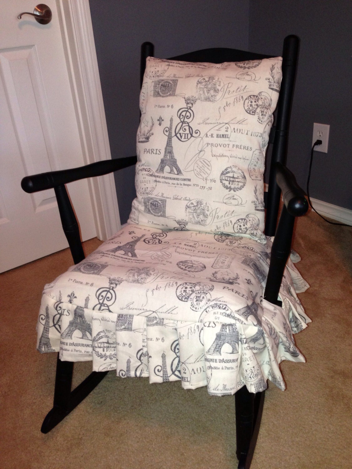 Rocking chair back pillow and seat cover by PilisChicBoutique