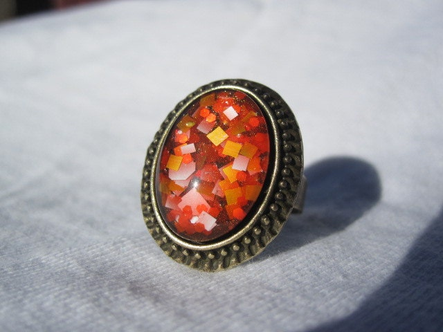 Oval Nail Polish Ring - Black Orange With White And Soft Orange Squares And Bright Orange Glitter Sparkle Hexes, Easter, Clemson, Halloween