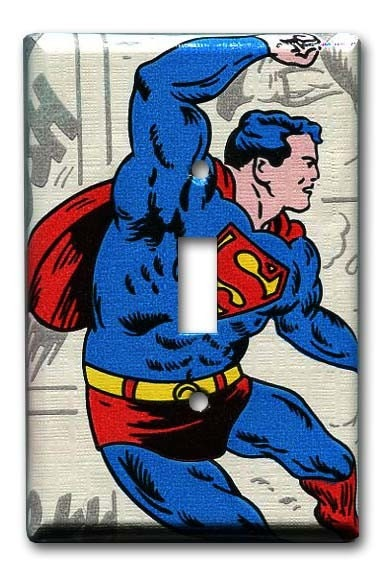 Superman Saves 1970's Vintage Wallpaper Switch Plate by Fondue