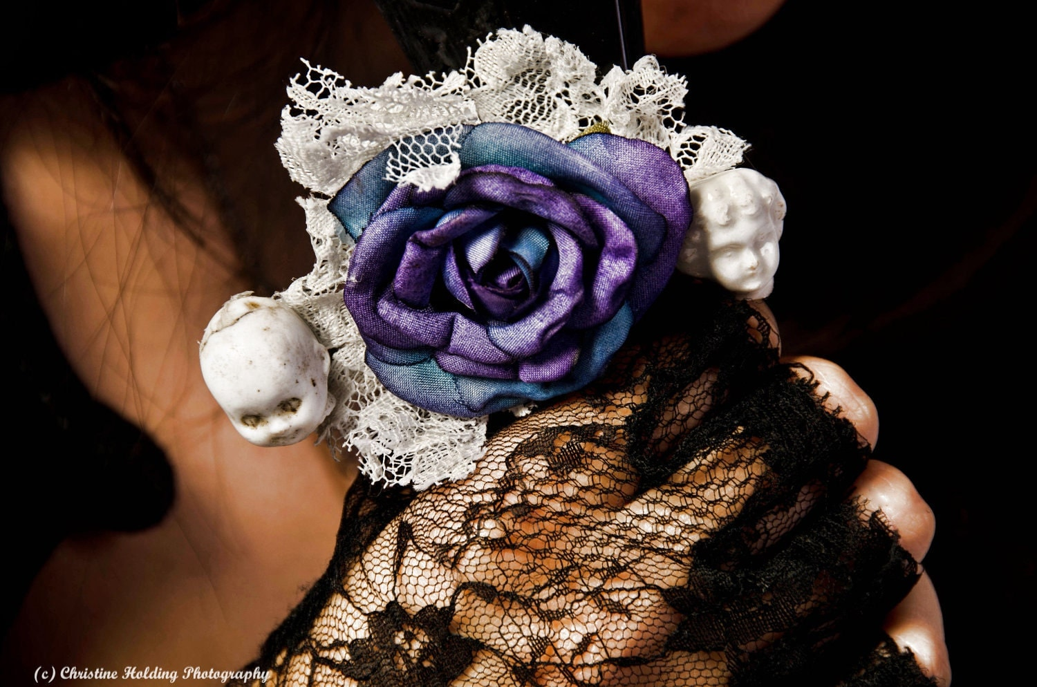 barrette with vintage purple and blue fabric rose, frozen Charlotte doll heads, and lace