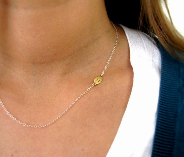 Sideways Initial Necklace in Brass  - Asymmetric Custom Necklace