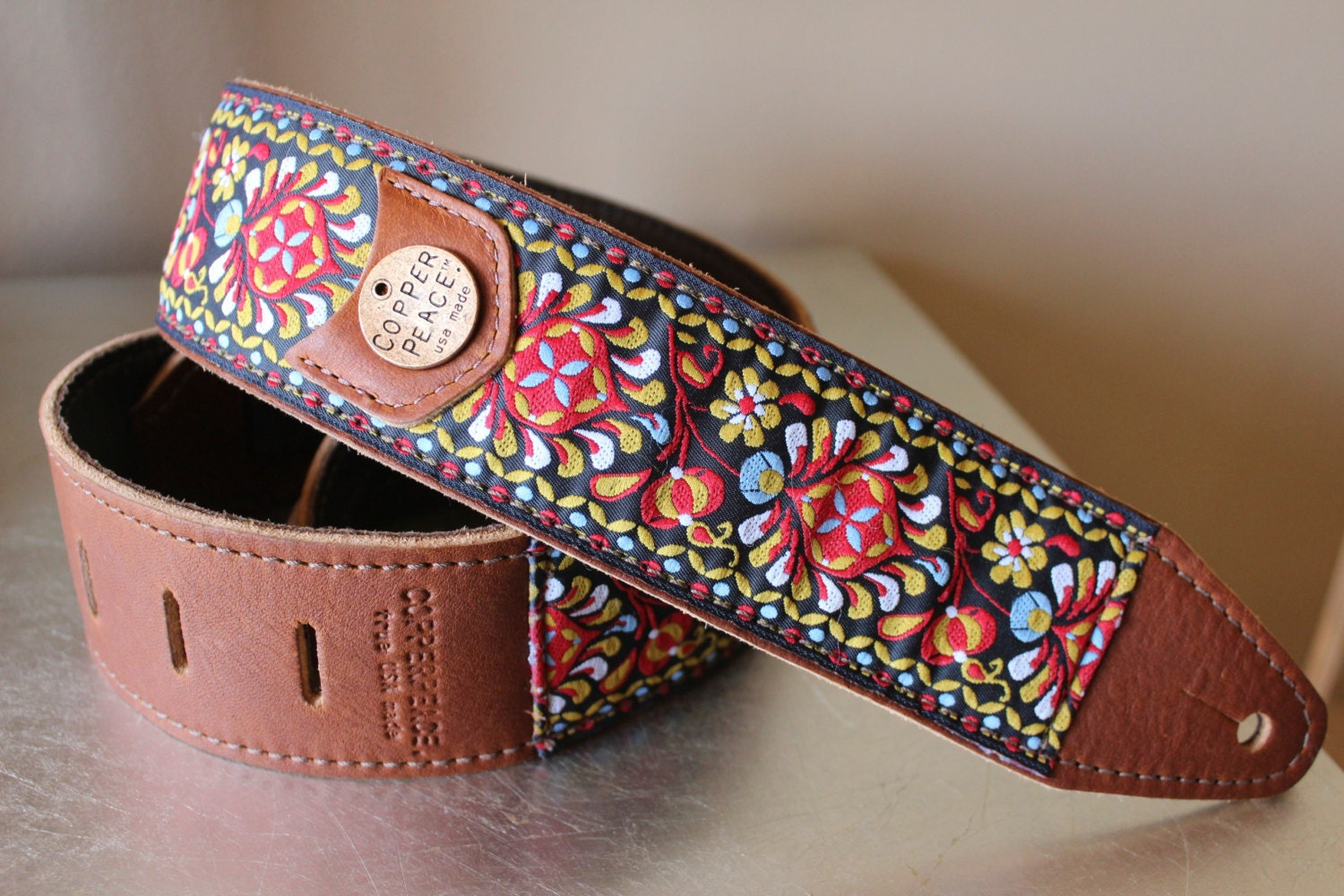 Gypsy Leather Guitar Strap - COPPERPEACE