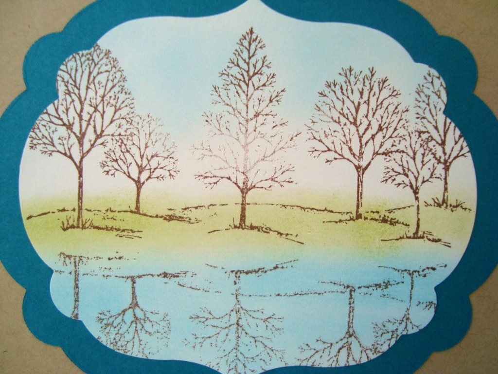 Serene Landscape Bare Trees scene, Reflection, Hand stamped card - Wcards