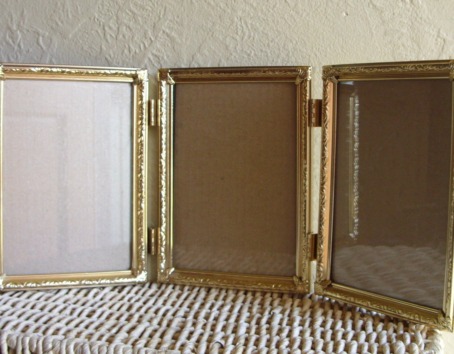 Gold Metal Hinged Picture Frame Triple 5 X 7 By Shabbynchic