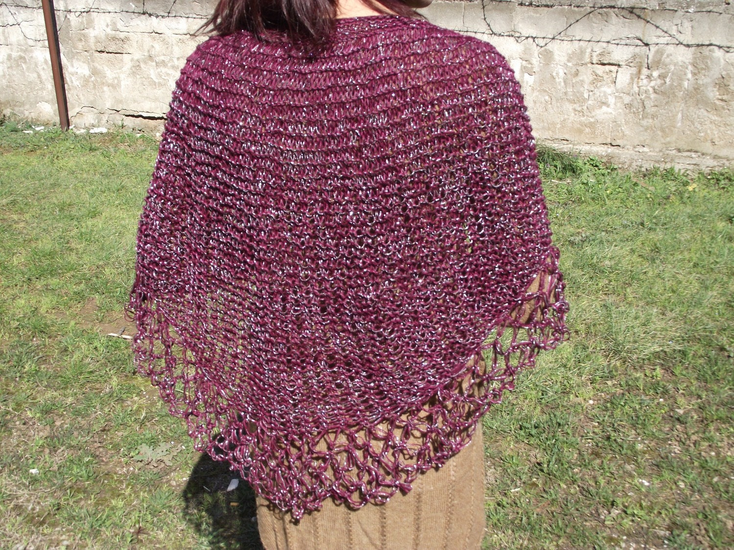 claret red silver  knitting Triangle Shawl sustainable fashion