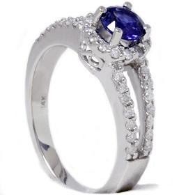 1.00CT Blue Sapphire Diamond Pave Halo Engagement Ring 14KW Size 7