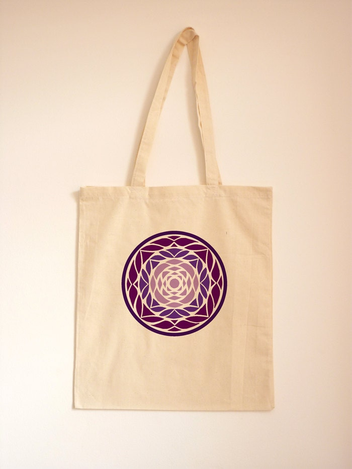 Ombre Purple Geometric Tote Fabric Handbag Tote Cotton Bag Abstract Art Large Fabric Shoulder Bag