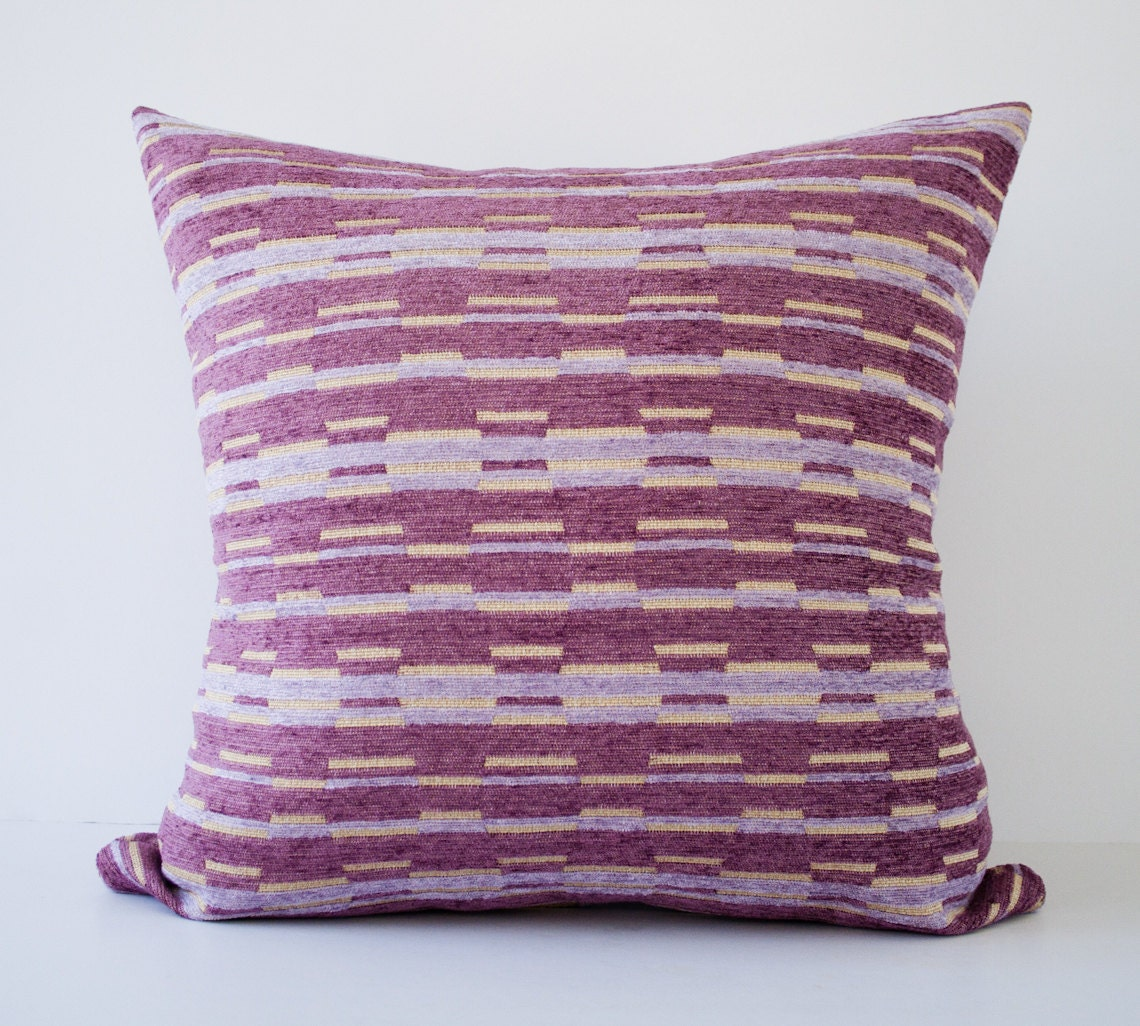 Purple stripes decorative throw pillow cover / accent by pillowdy