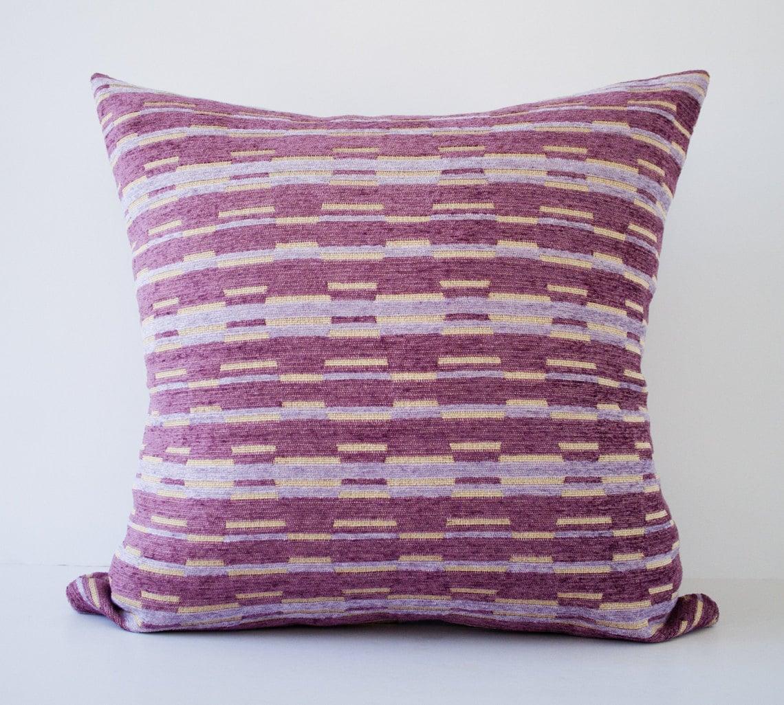 Purple Decorative Pillow Covers : Purple stripes decorative throw pillow cover / accent by pillowdy