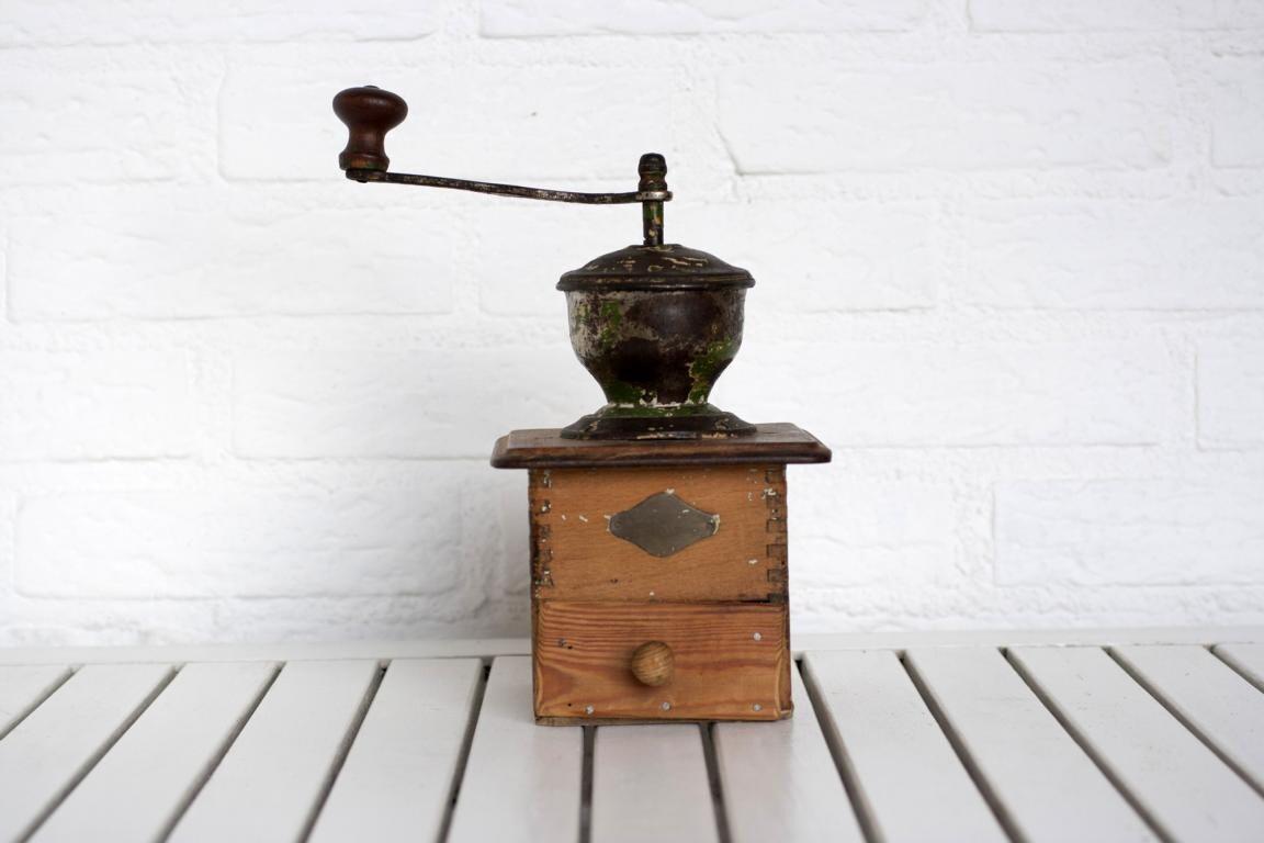 Large Antique German Wooden Coffee Grinder Rustic Restoration Project