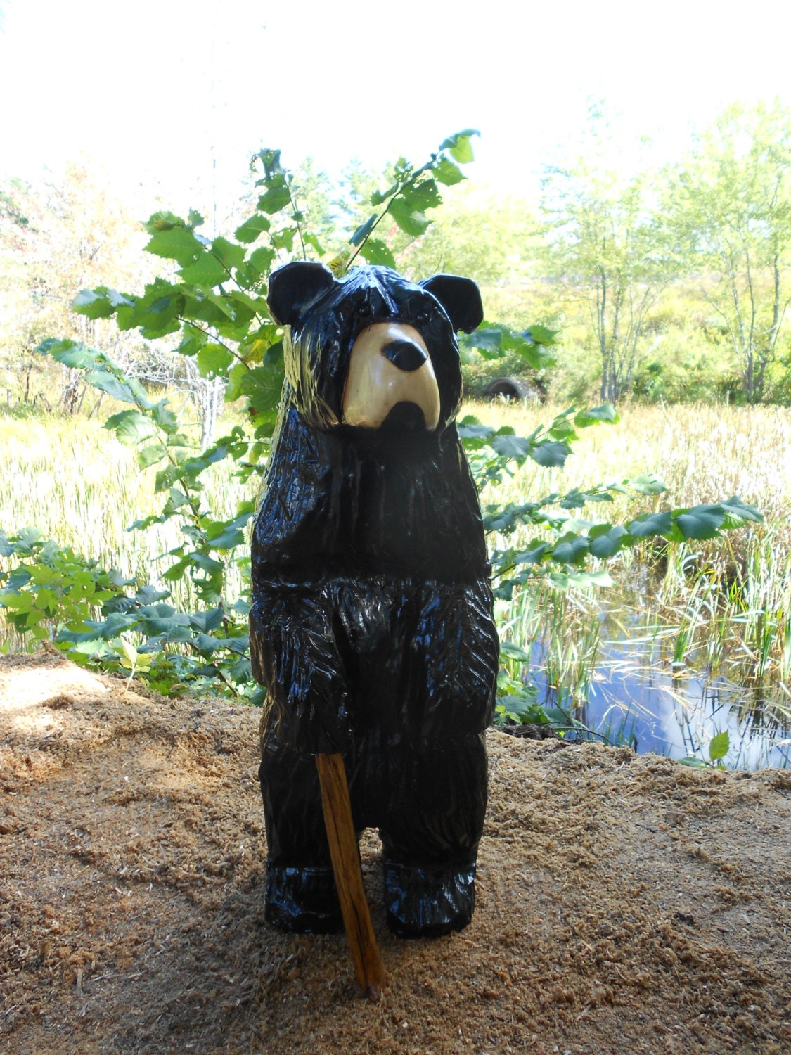 Original chainsaw wood carving black bear by alwayscarving