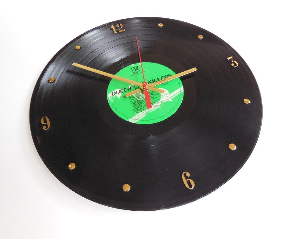 queen vinyl record wall clock live killers by recordsandstuff. Black Bedroom Furniture Sets. Home Design Ideas