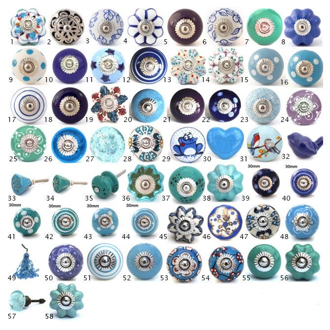 Ornamental Ceramic Door Knobs Various Blue  Turquoise Designs Kitchen Cabinet Cupboard or Drawer Pulls