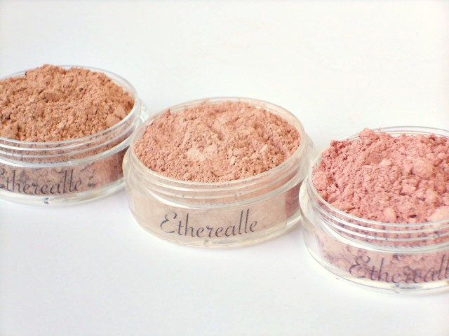 Mineral Blush Set - Ballerina (nude pink), Bakery (peach), Blossom (natural pink), 3 (20g) jars - Vegan - Etherealle