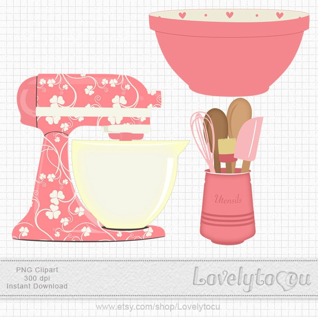 Kitchen Baking Clipart Set Mixer Utensils And Bowl