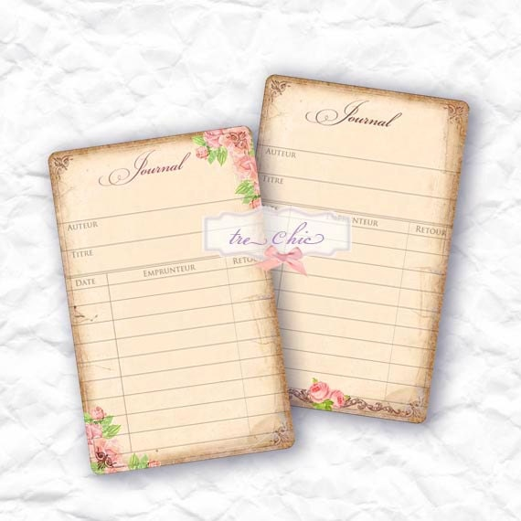 Rustic Vintage Inspired Antique Library and Printable Journal Cards - LeCharmedLife