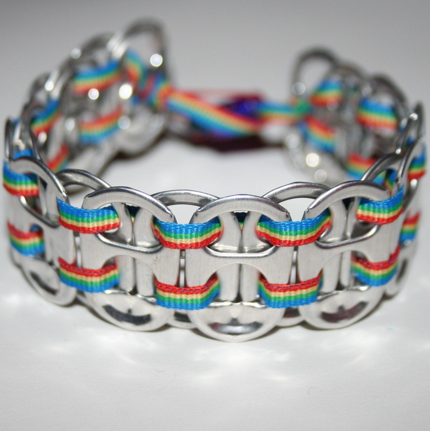 rainbow pop can tab bracelet with thin ribbon by eclectickel