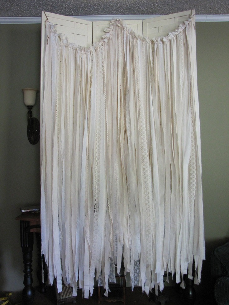 Tattered fabric wedding garland banner shbby chic by for Shabby chic garland lights