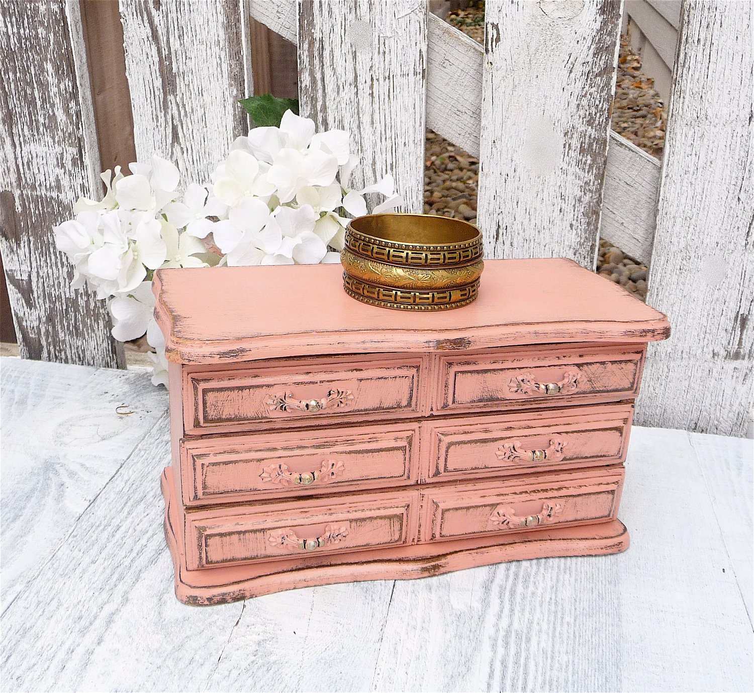 Vintage Pink/ Coral SHABBY CHIC Jewelry Box - HuckleberryVntg