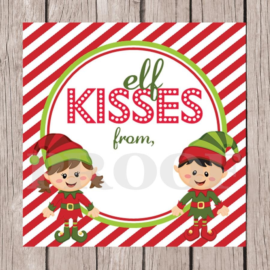 Instant Download - Printable Elf Kisses Holiday Tags