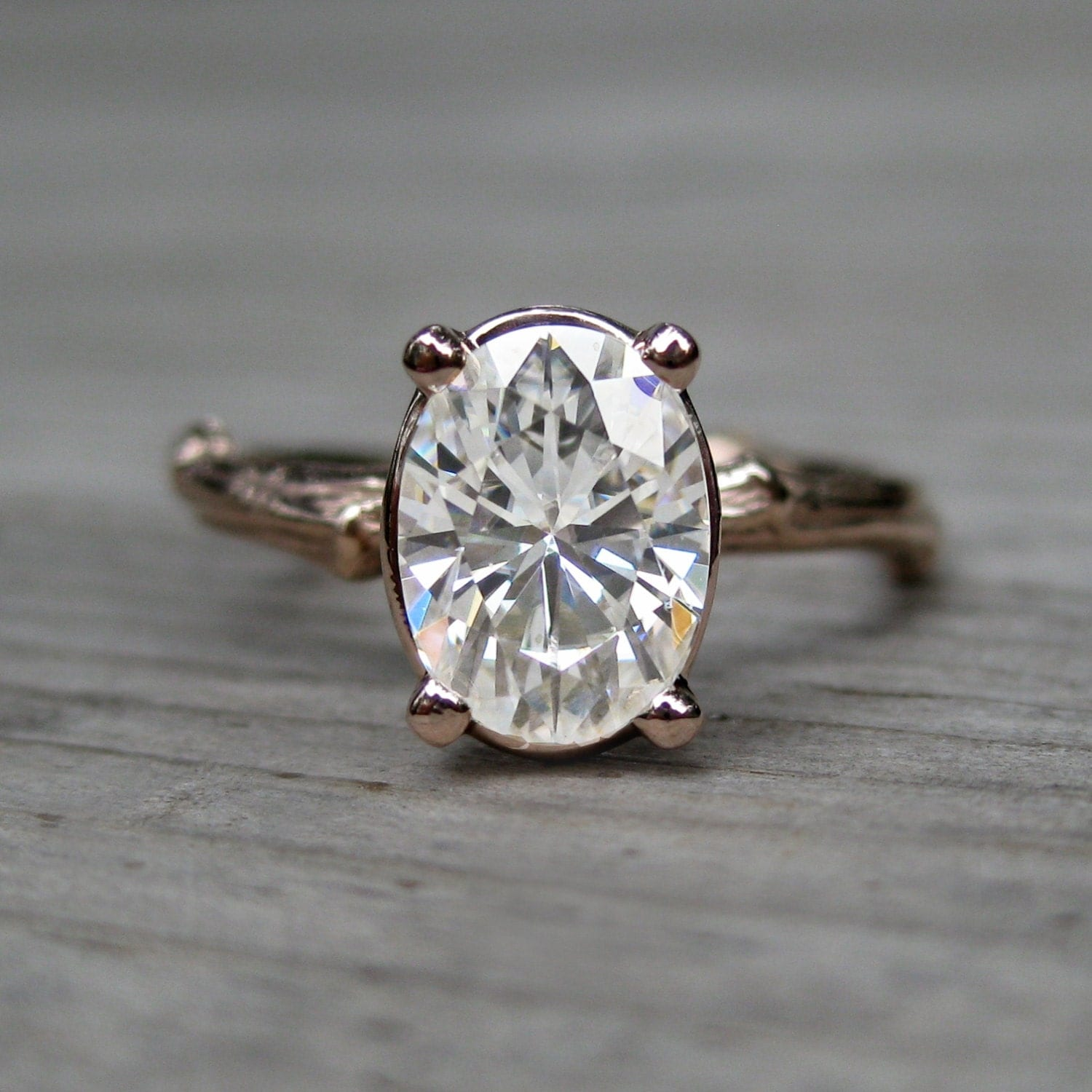 oval moissanite twig engagement ring rose white by