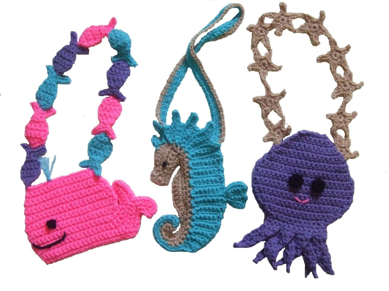 Purse Crochet Pattern, Ocean Friends Purses, Digital Download - CrochetVillage