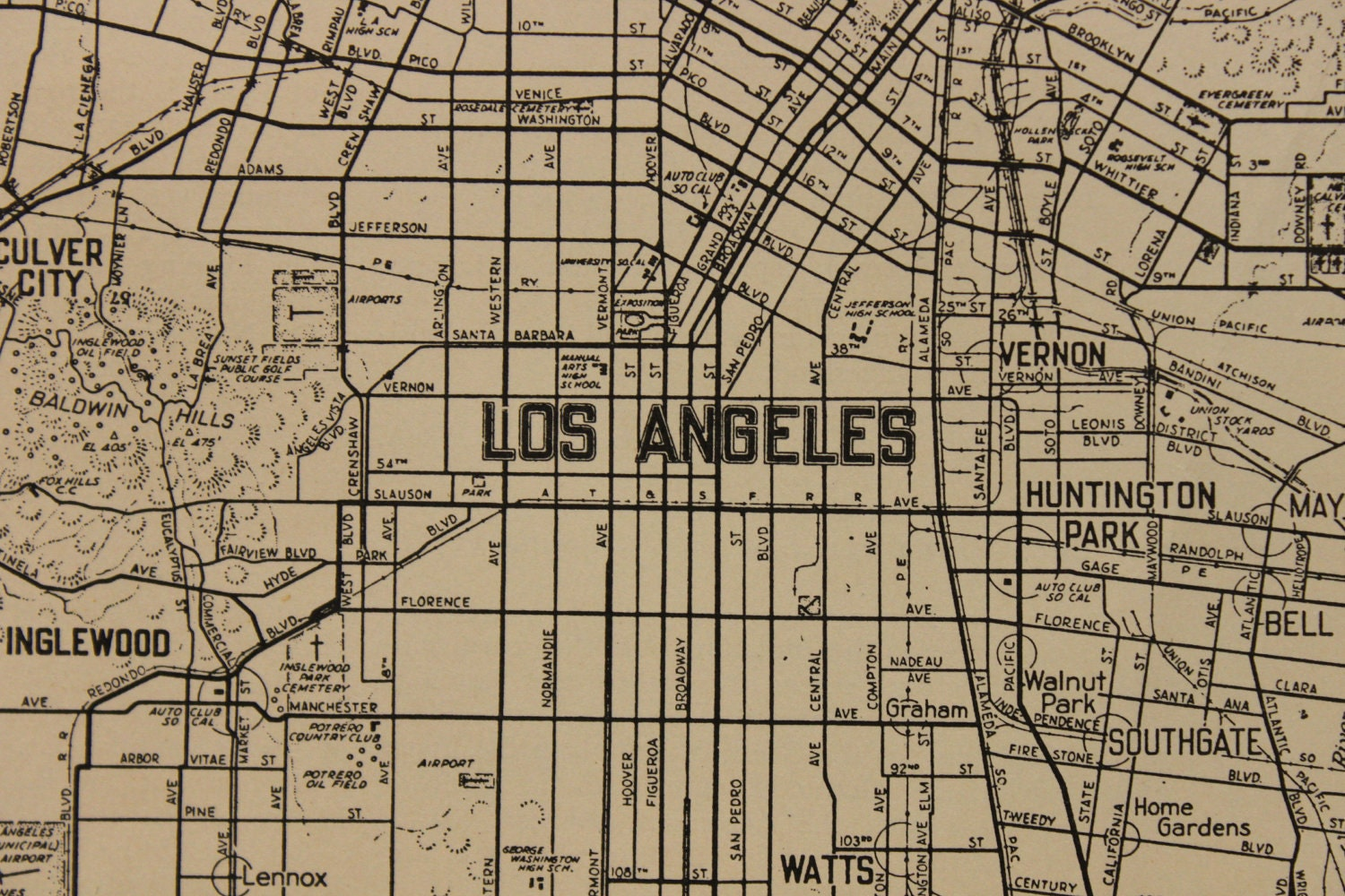 Historical Atlas Of California With Original Maps  Download - Los angeles map vintage