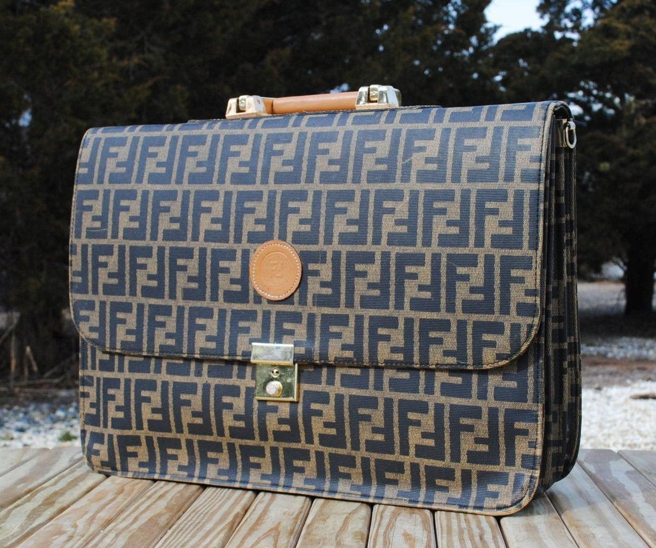vintage 1980s fendi briefcase or laptop bag by badbabyvintage