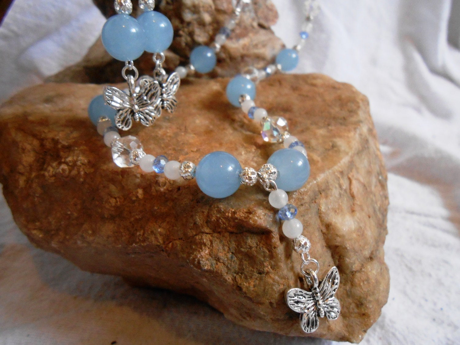 Beautiful Aquamarine, White Jade, Silver Butterfly and Swarovski Crystal Jewlery Set, Necklace and Earrings, Handmade, OOAK - FaerieTeaAndTreasure