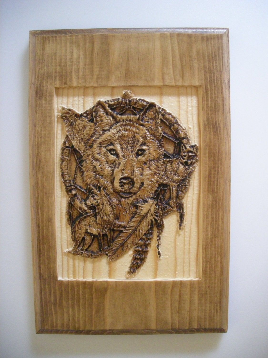 Dream Wood Wall Decor : Wolf dream catcher carved wood native by