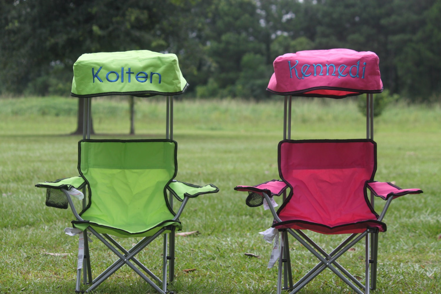 Kids foldable canopy beach c chair monogram personalized pink blue