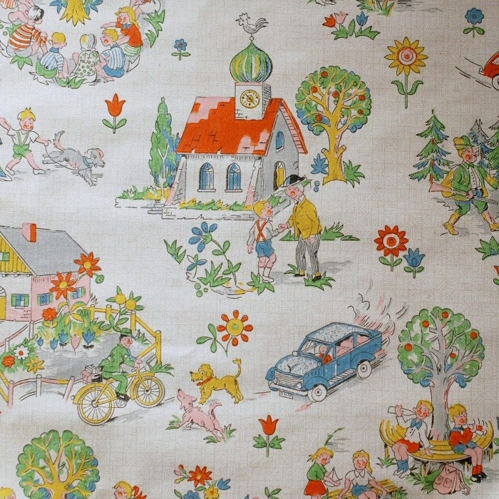 vintage childrens wallpaper 50 cm by frausvensson on etsy