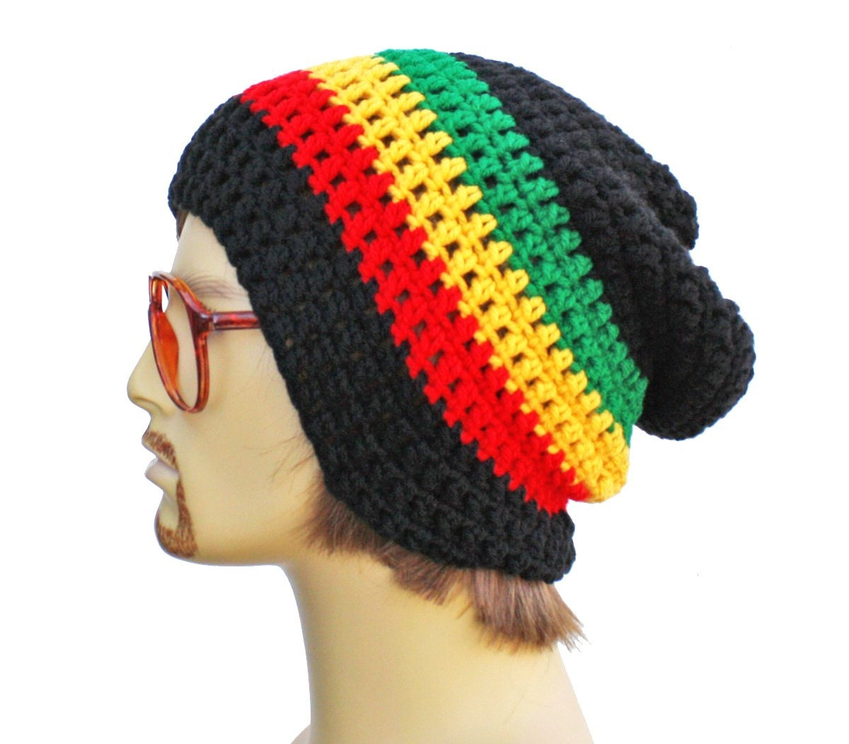 Free Crochet Patterns For Dreadlock Hats : CUSTOM RESERVED for tamika 2 Slouch Rasta Beanie by ...