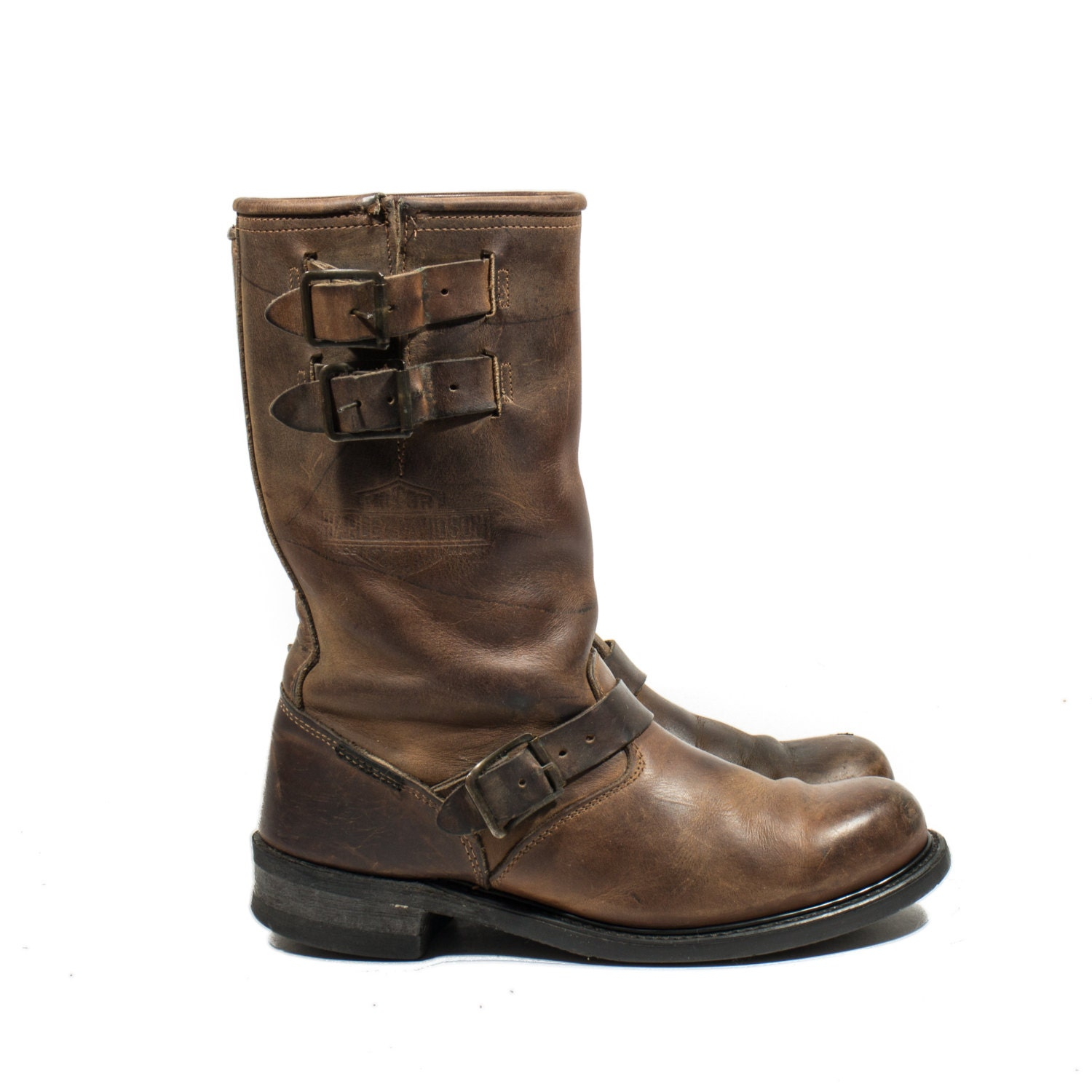 Mens Brown Leather Motorcycle Boots