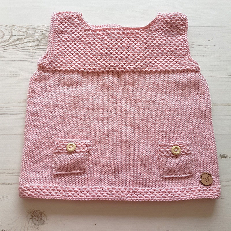 Knitted Baby Dress. Baby Pinafore Dress. Hand Knitted. Pink Dress. Handmade Baby Dress. Woollen Dress. Baby Girl. Made To Order. Bespoke