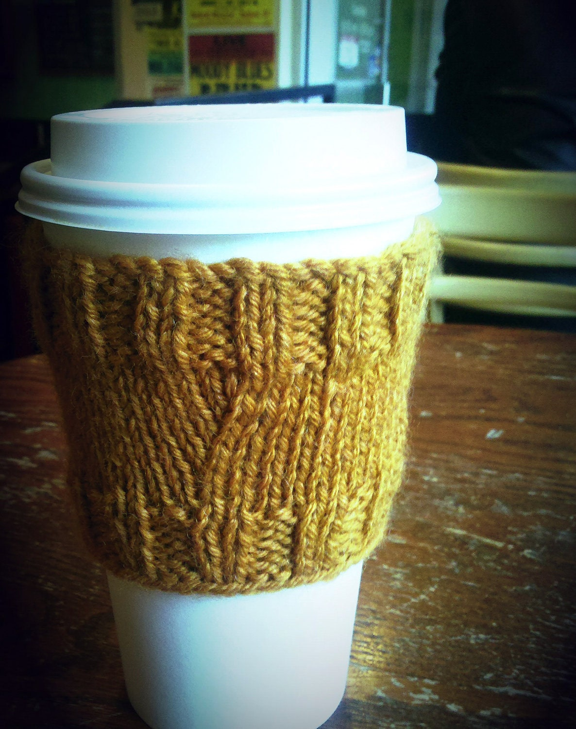 Coffee Cozy Knit Pattern : Items similar to Coffee Cover Up Cozy Sleeve Knit Pattern ...