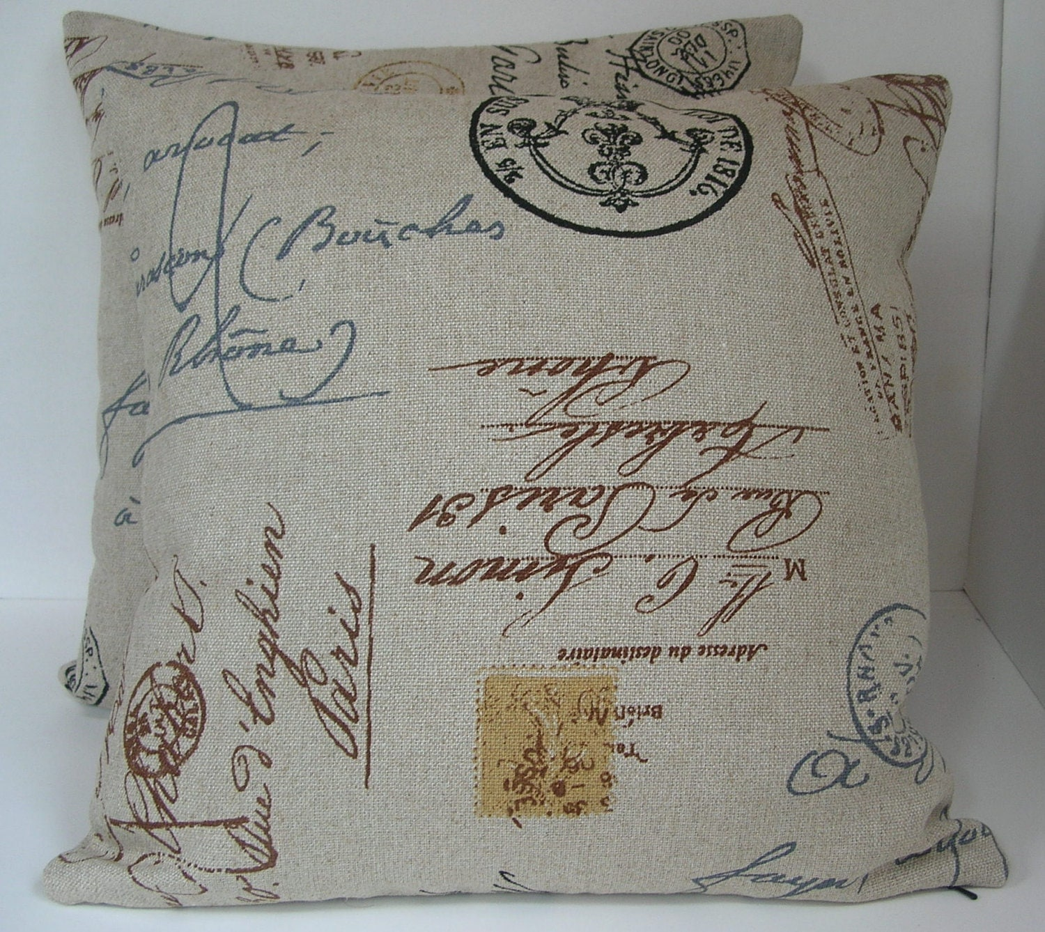 Two 2 Decorative French Postal Pillow Covers Beige by HochePoche