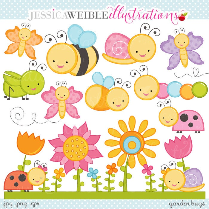 ... Cute Bugs Clipart, Cute Bugs Graphics, Ladybug, Grasshopper, Butterfly