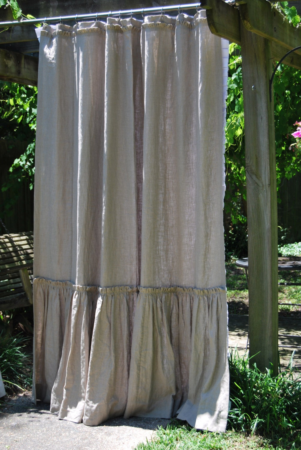74x96 Phoebe Style Shower Curtain In Flax Linen By Ldlinens