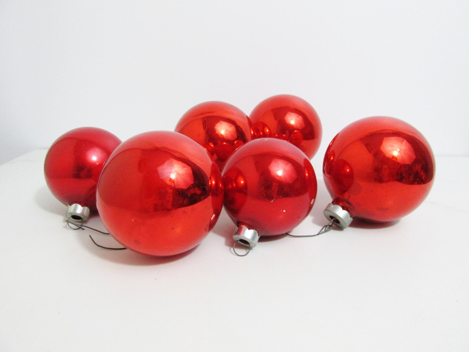 Vintage Christmas Ornaments: Lot of Six Red Glass Balls - FairSails