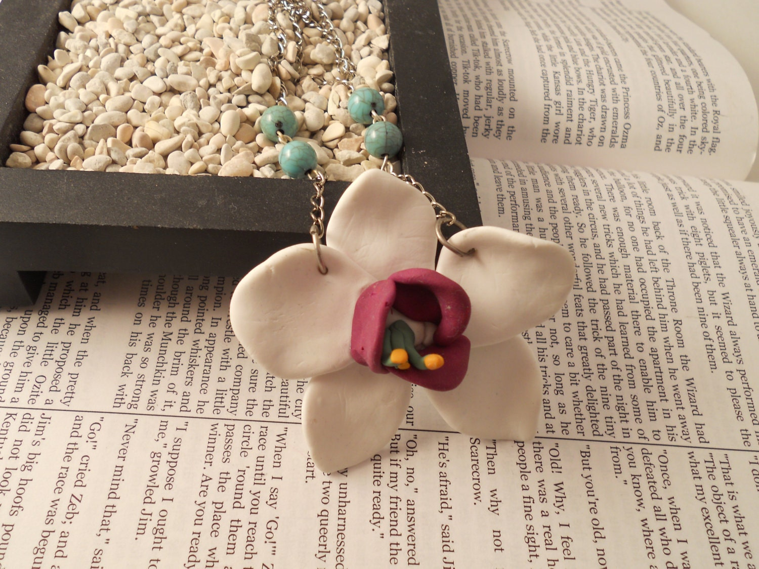 Polymer Clay Orichid Necklace