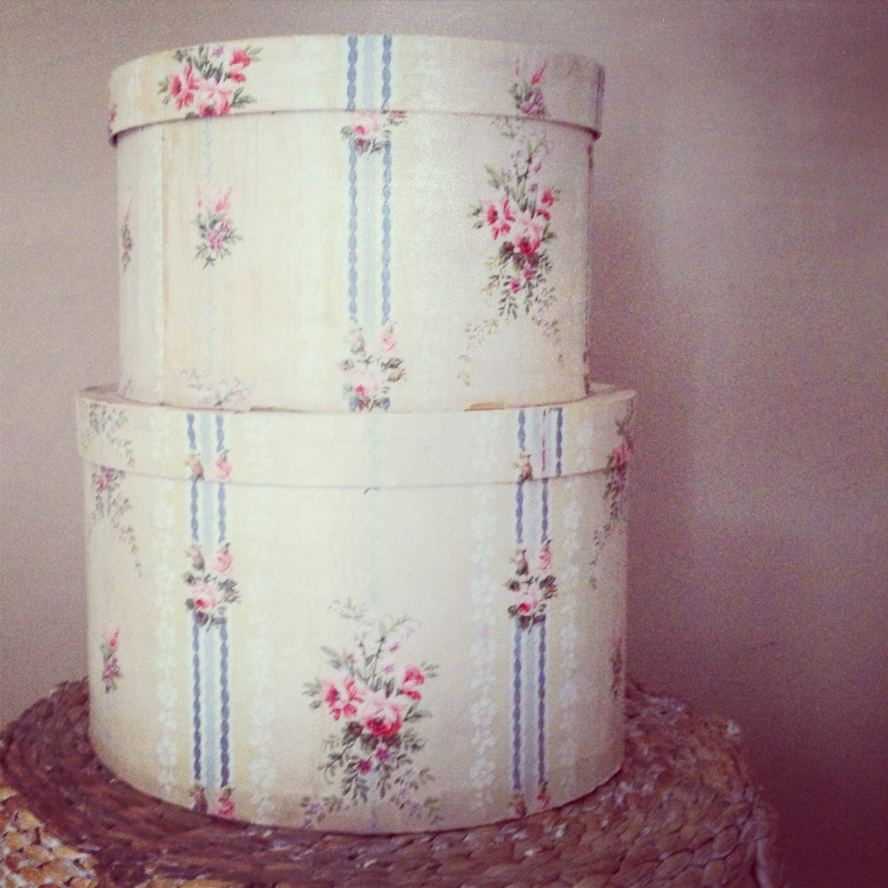 Vintage French Blue and Cream Floral Roses Stacked Antique Hat Band Boxes - LeFadedFleur