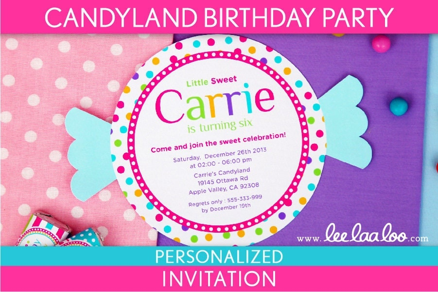 Candyland Invitation Template Candyland Party Invitations – Candy Land Birthday Invitations