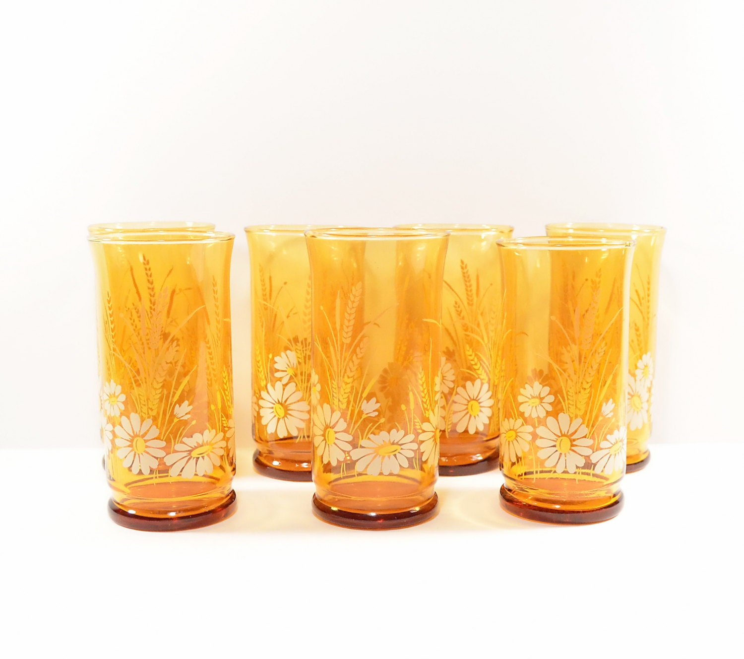 Vi n t a g e Libbey Daisy & Wheat Drinking Glasses Tumblers x 7 - NeedorWant