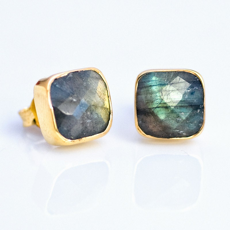 Holiday Sale - Stud Earrings - Cushion Labradorite Stud Post Earrings - Gold Stud Gemstone Earrings - Birthstone Earrings - FREE SHIPPING