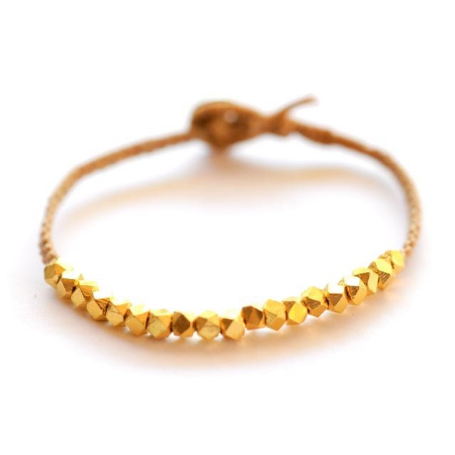 Chunky faceted vermeil gold on butterscotch beige waxed linen cord Modern friendship bracelet