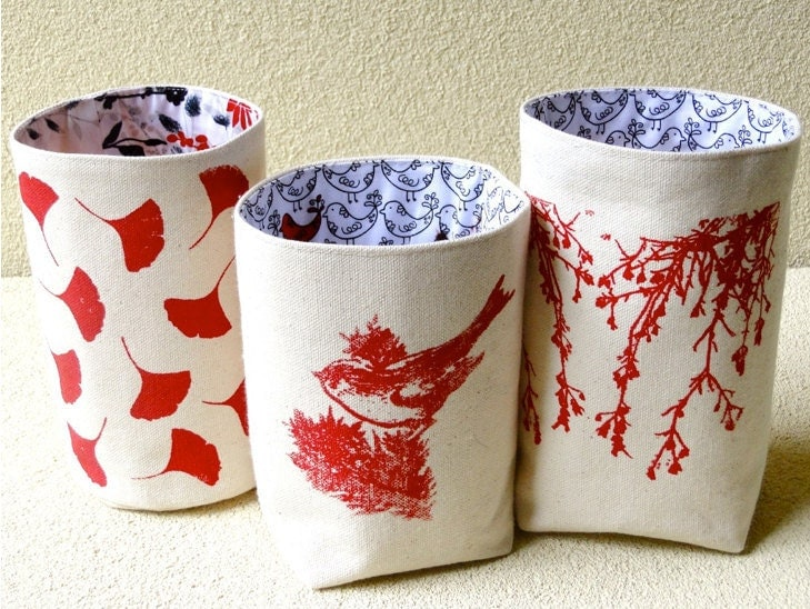 Organic Cotton Canvas Box Bin Organizer Storage Basket /Hand Printed Red Bird/ Blue Cascade Flowers/ Ginkgo Leaves